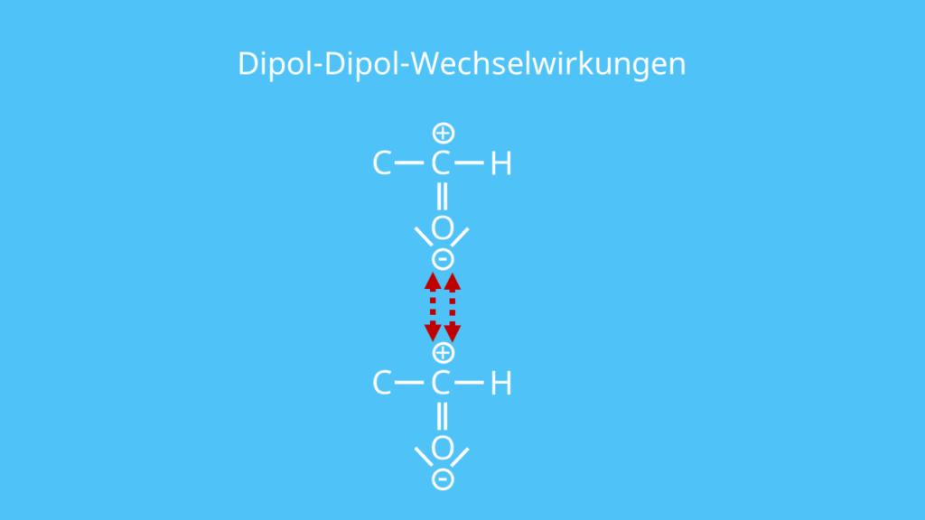 Dipol-Dipol-Wechselwirkungen, Dipol, Aldehyd, polar, Bindung