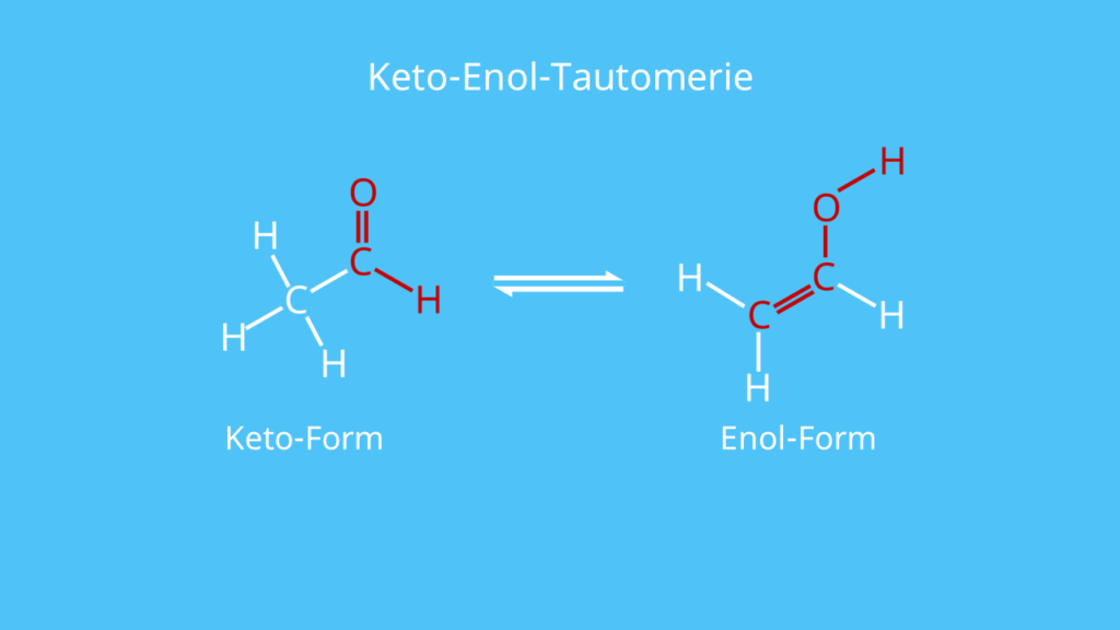 Aldehyd, Keto-Enol-Tautomerie, Keto-Form, Enol-Form
