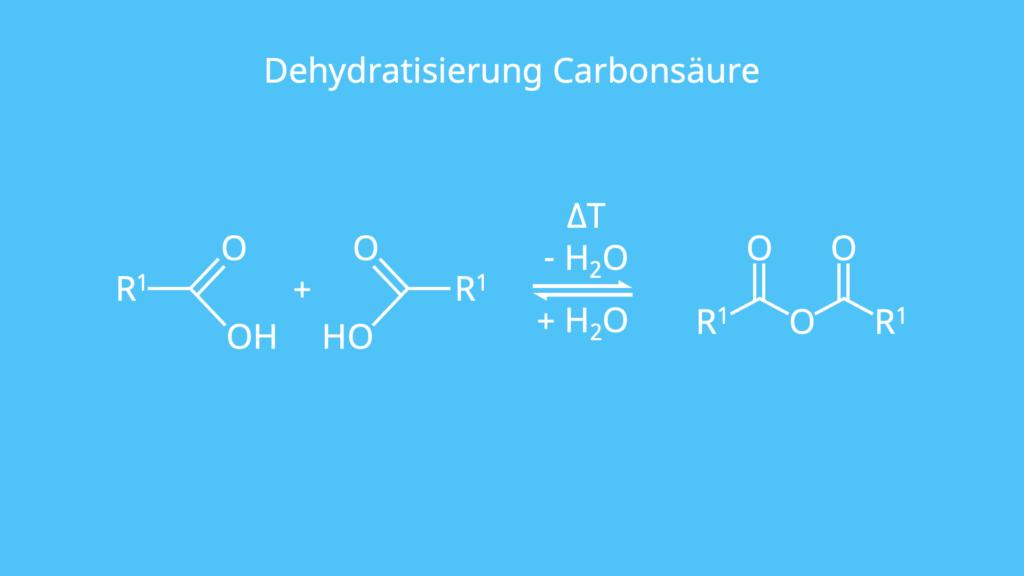 Dehydratisierung, Carbonsäure, intermolekularer Wasserabspaltung, Abspaltung, Carbonsäureanhybrid