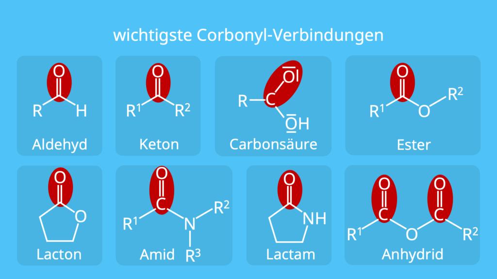 wichtigste Carbonyl-Verbindungen, häufige Carbonyl Verbindungen, OH-Gruppe