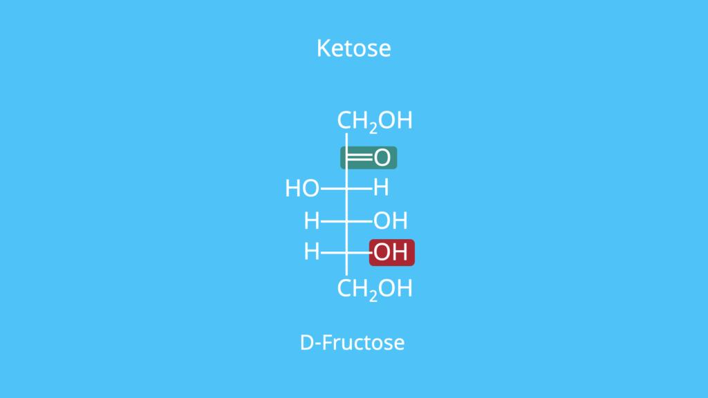 Ketose, Ketogruppe, D-Fructose, Fructose, OH-Gruppe, Fischer-Projektion