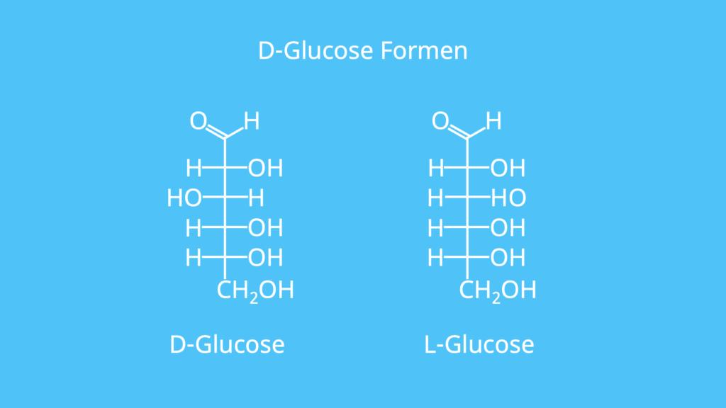 D-Glucose, L-Glucose, Glucose Formen, Hexanose,
