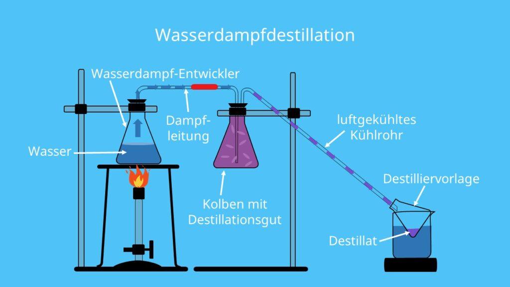 Wasserdampf, Kondensator, Destillieren, Destillat, Destilliervorlage, fraktionierte Destillation, Wasserdampf