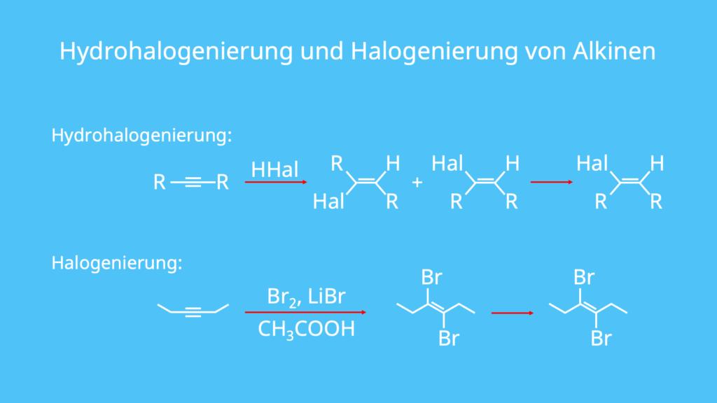 Halogene, Alkene, Alkine, Alkane, Hydrohalogenierung, Halogenierung