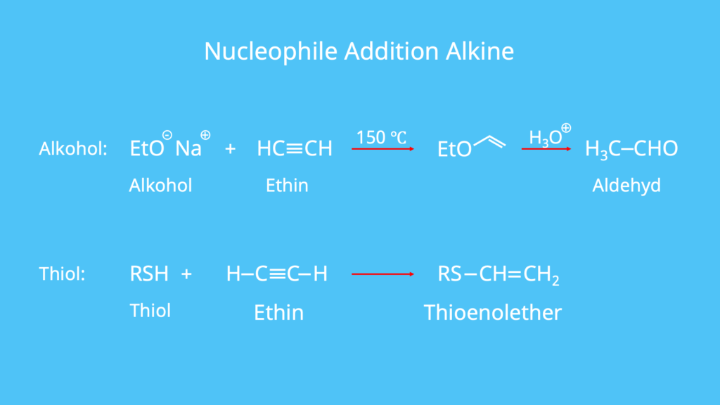nucleophile Addition, Thiole, Aldehyde, Alkohole, Alkine, Thioenolether
