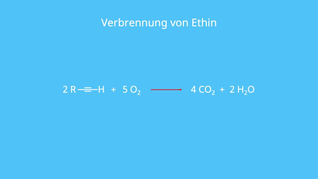 Ethin, Verbrennung, Acetylen