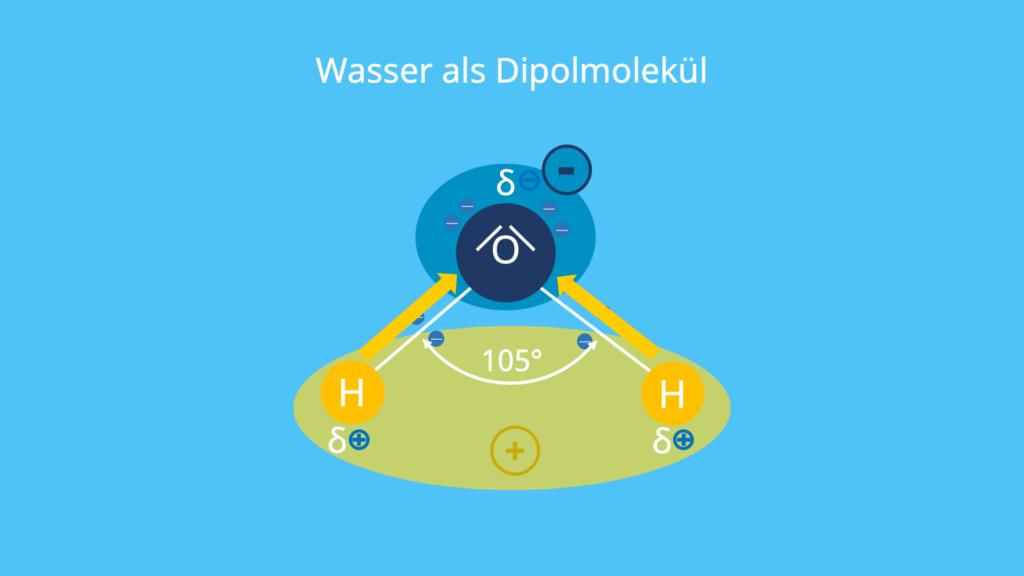 Dipol, Wasser, Dipolmolekül, polare Bindung, Dipolmoment