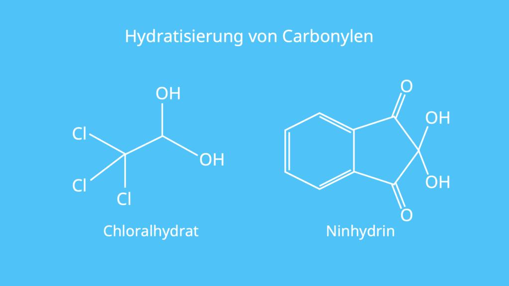 Hydratisieren, Hydratisiert, Strukturformeln, Hydrate, Erlenmeyerregel
