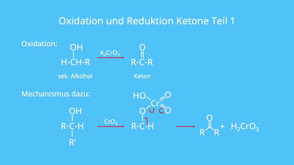 Alkohol, sekundärer Alkohol, Keton, Oxidation, Reduktion, Redox