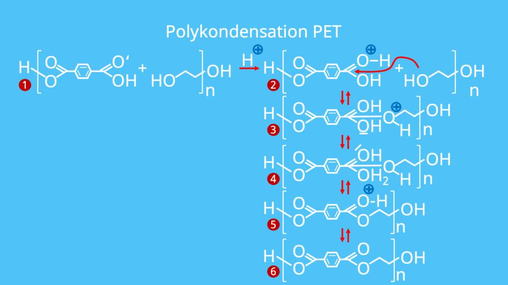 Synthese PET, Herstellung PET, Kunststoffe, Polymere, Kondensationsreaktion,Polyethylenterephthalat, Terephthalsäure, Ethylenglykol