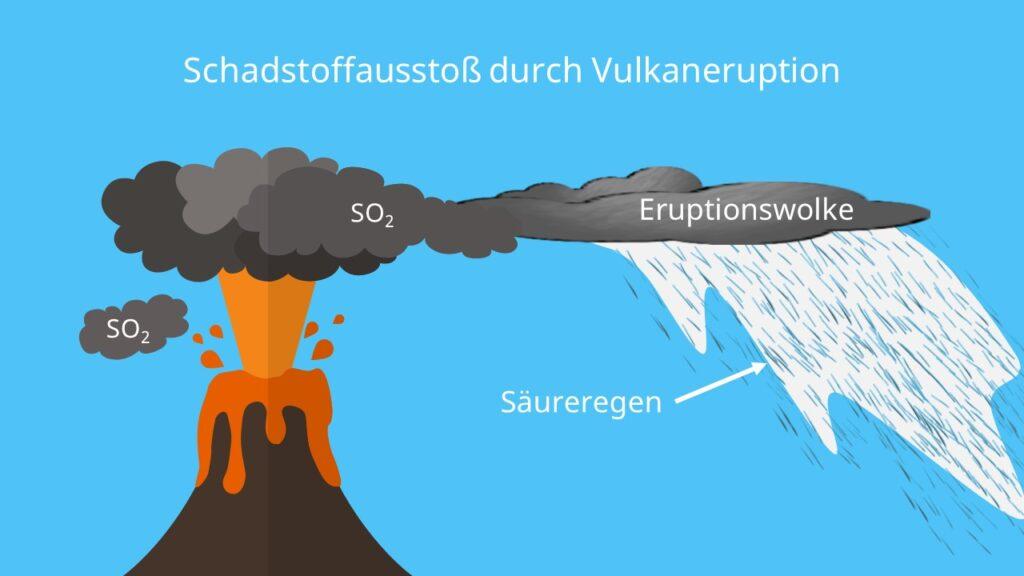 Saurer Regen, Entstehung, Ursachen, Vulkan, Schadstoffe