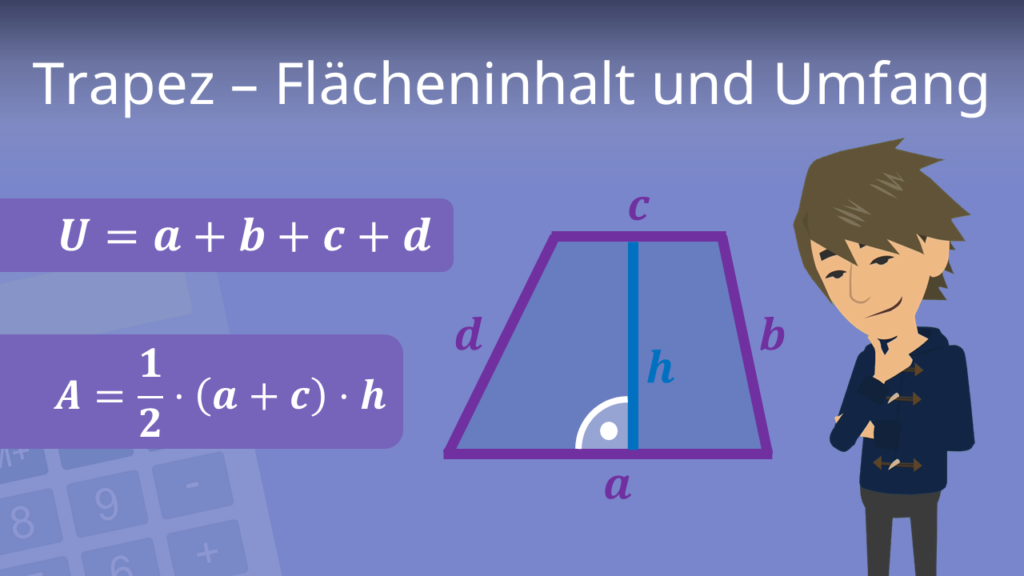 Trapez Flächeninhalt, Trapez Umfang, Trapez Formel, Trapez berechnen