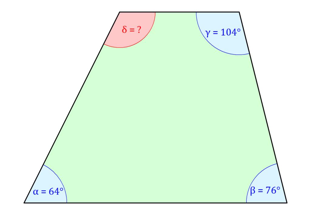 Trapez Winkel berechnen, Winkel berechnen, Winkelberechnung Trapez, Winkelsumme Viereck, Innenwinkel Viereck