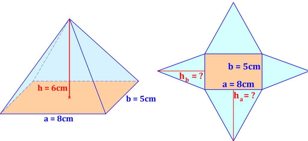 Pyramide, Rechteck, Netz, Höhe, Winkel