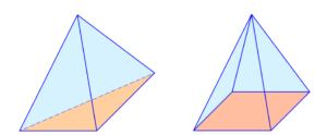 Pyramide, Dreieck, Viereck, Grundfläche, Mantelfläche