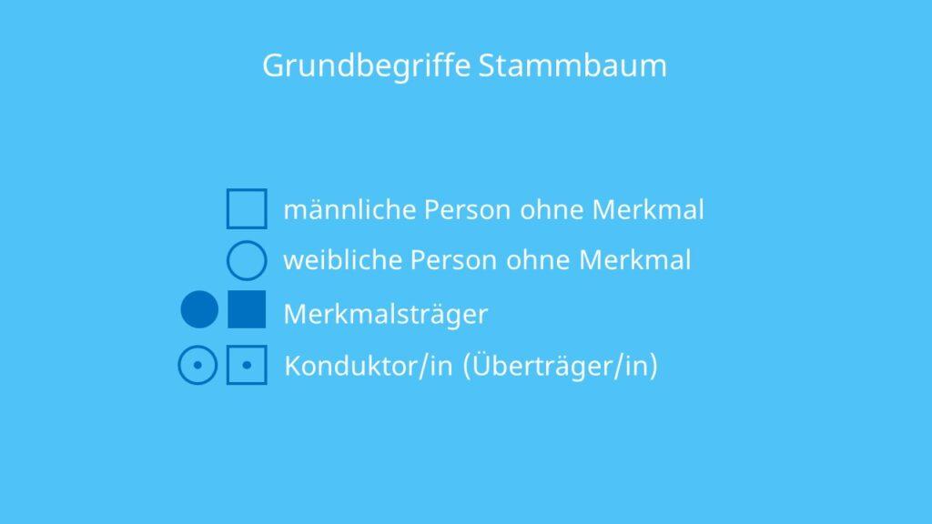 Stammbaumanalyse, Erbgänge, Legende