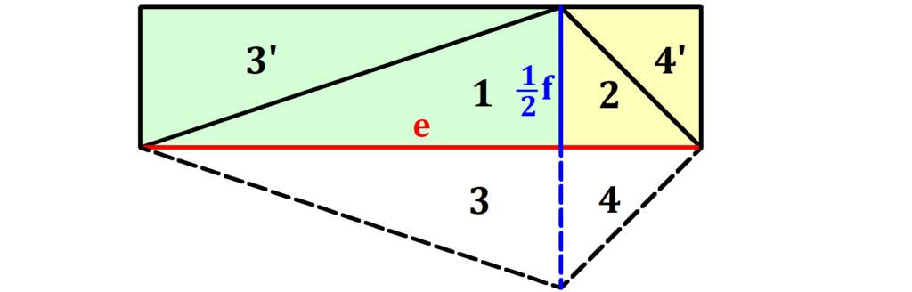 Drachenviereck Flächeninhalt Herleitung, Flächeninhalt Drachenviereck