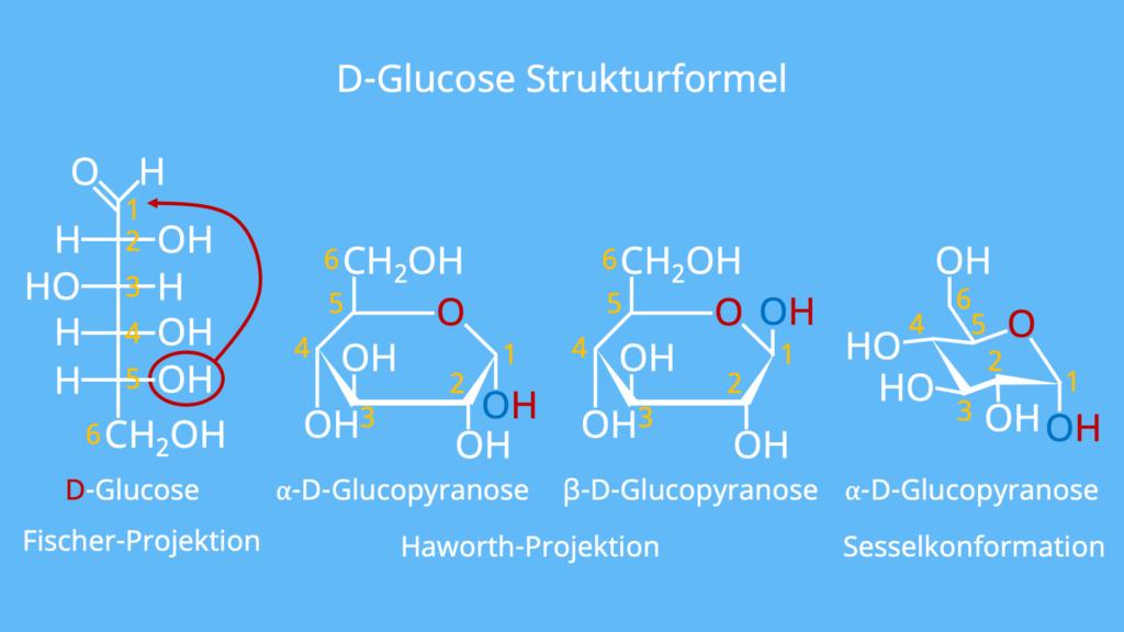 D Glucose, Glucose Strukturformel, Glucose Sesselform, Zuckermolekül, Was ist Glucose, Glucose Aufbau, Traubenzucker Formel, Was ist Traubenzucker, Glucose Haworth