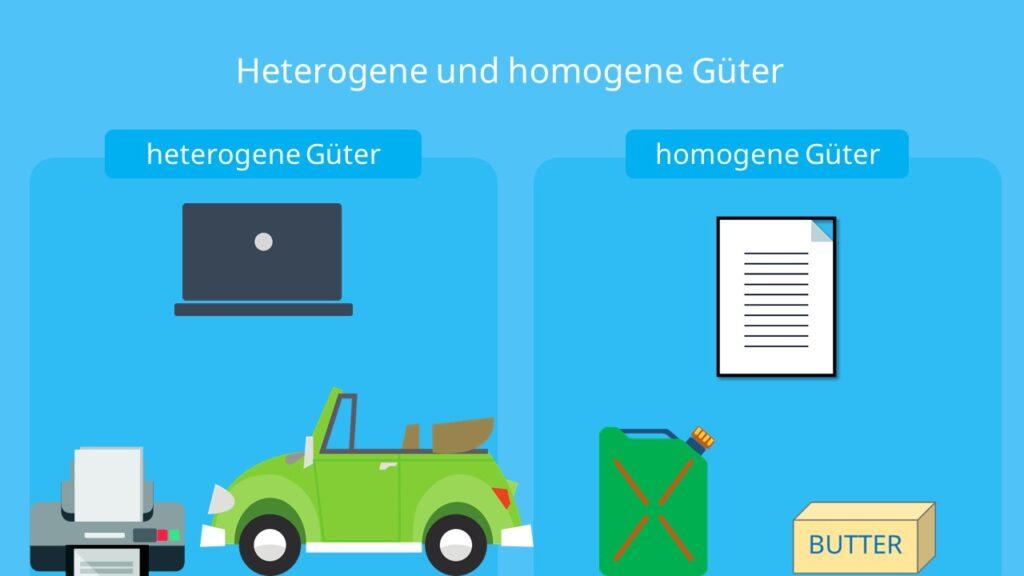 Güterarten, heterogene Güter, homogene Güter