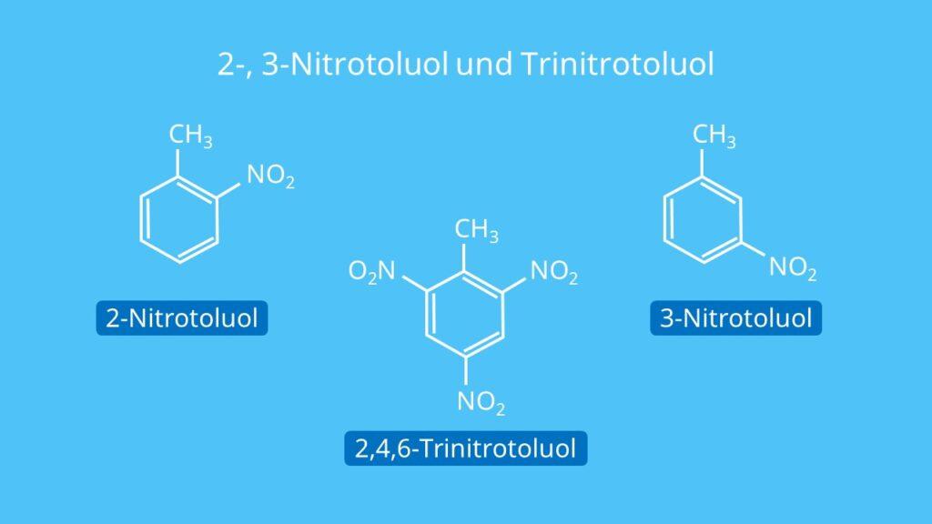 2-, 3-Nitrotoluol und Trinitrotoluol, Toluene, Methylbenzol, Methylbenzen, Nitrierung von Toluol, TNT Herstellung, C6H5CH3