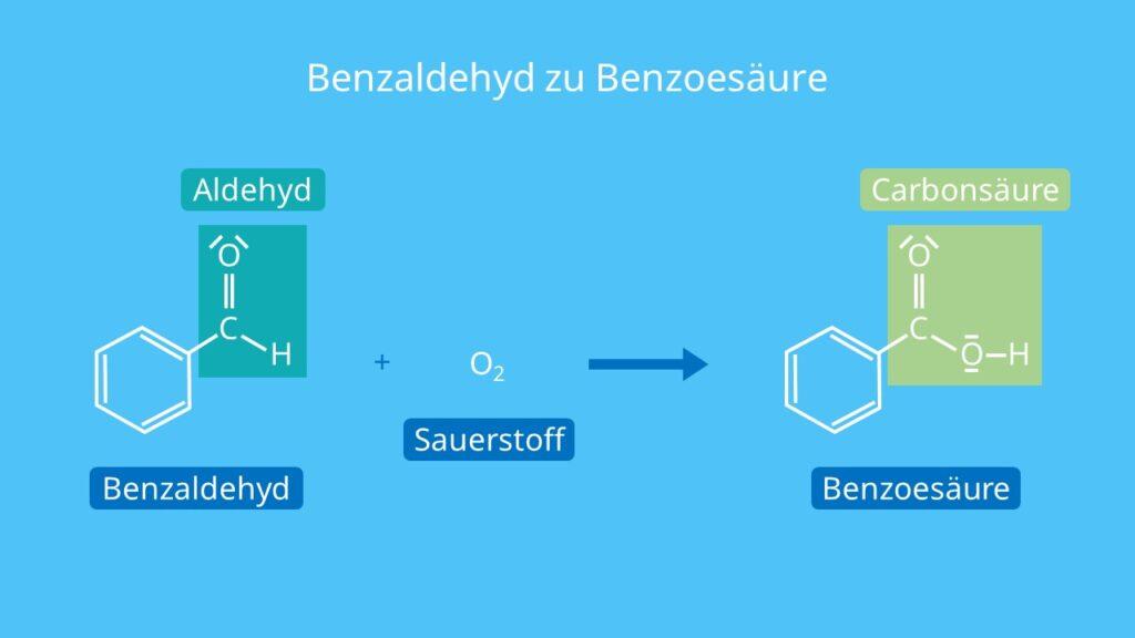 Benzaldehyd zu Benzoesäure, Was ist Benzoesäure, Benzolcarbonsäure, C6H5COOH, benzoic acid