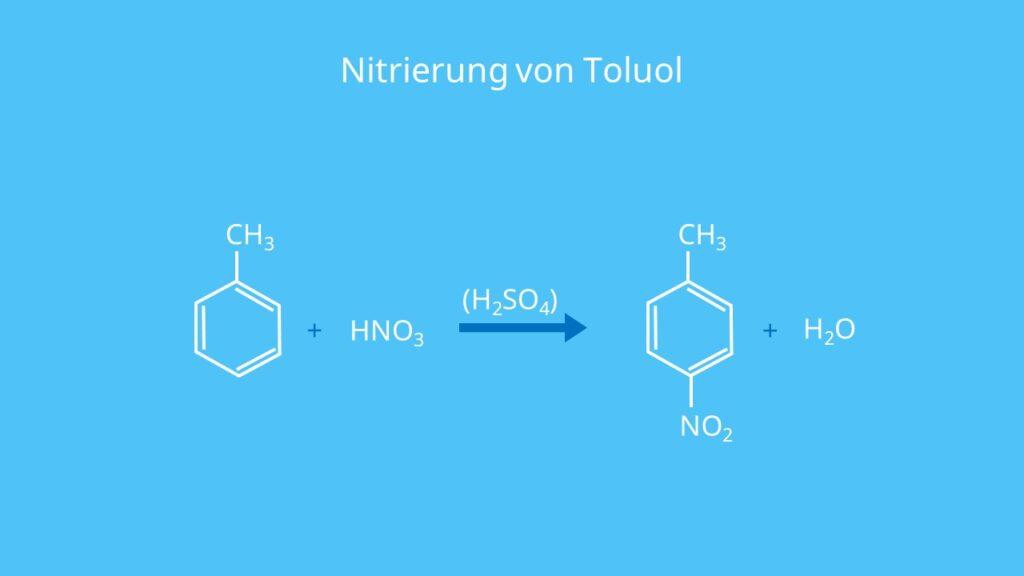 Nitrierung von Toluol, Toluene, Methylbenzol, Methylbenzen, C6H5CH3