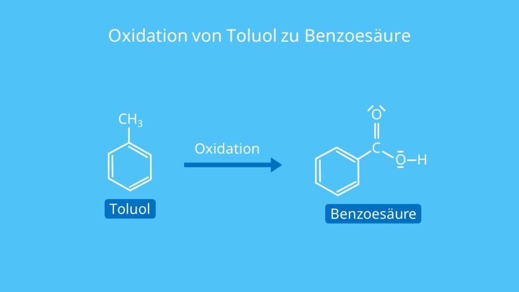 Oxidation von Toluol zu Benzoesäure, Oxidation von Toluol, Was ist Benzoesäure, Benzolcarbonsäure, C6H5COOH, benzoic acid
