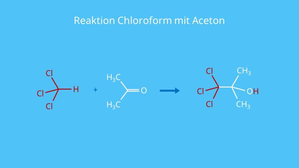 Reaktion Chloroform mit Aceton, CHCl3, Cloroform, Kloroform, HCCl3