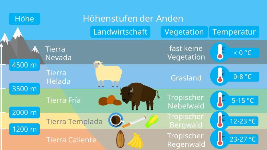 Anden Klima, Anden Höhenstufen, Landwirtschaft, Vegetation, Landschaft