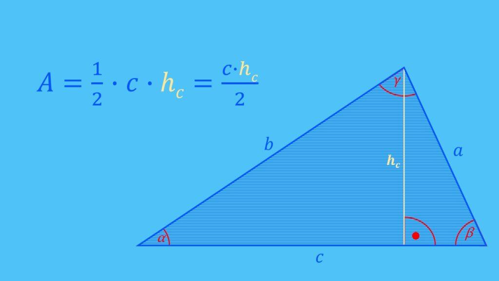 Flächenberechnung allgemeines Dreieck Formel, Fläche berechnen