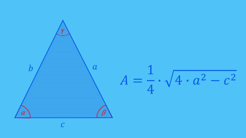 Flächenberechnung gleichschenkliges Dreieck Formel, Fläche berechnen