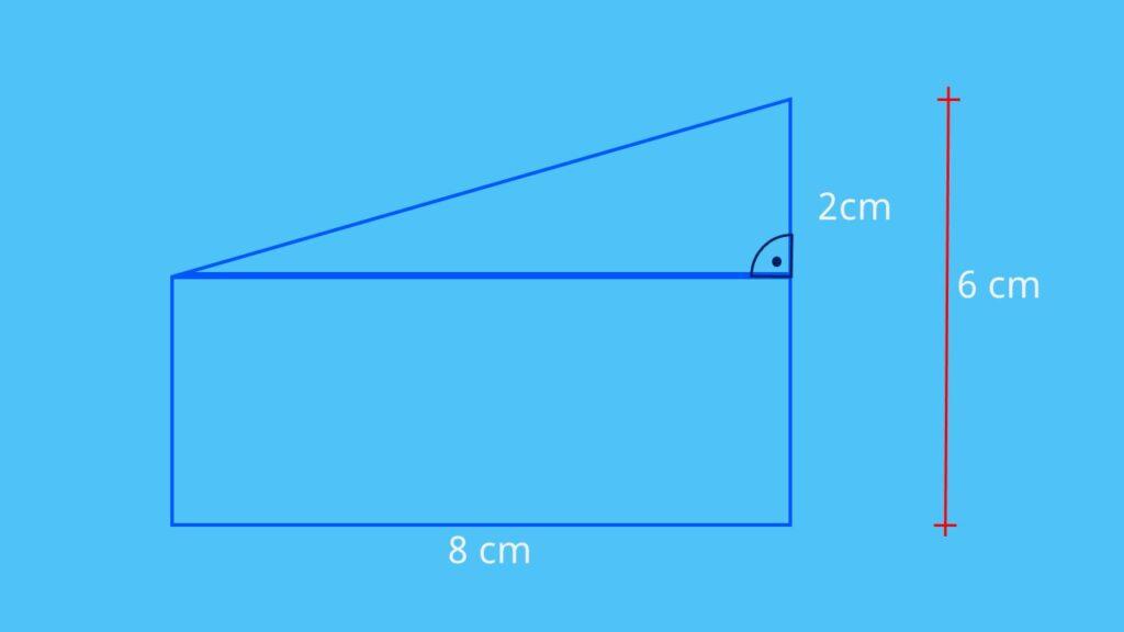 Flächenberechnung zusammengesetzte Fläche, Flächeninhalt berechnen, Flächeninhalt Rechteck, Flächeninhalt rechtwinkliges Dreieck