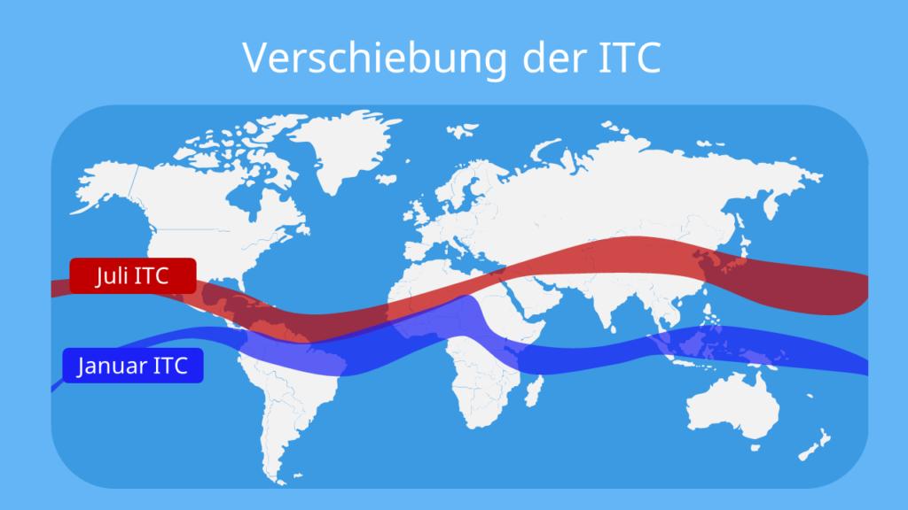 Passatzirkulation, die passatzirkulation, äquatoriale tiefdruckrinne, wendekreise, Verlagerung der ITC, Verlagerung der Konvergenzzone, Wanderung der ITC, Wanderung der Konvergenzzone