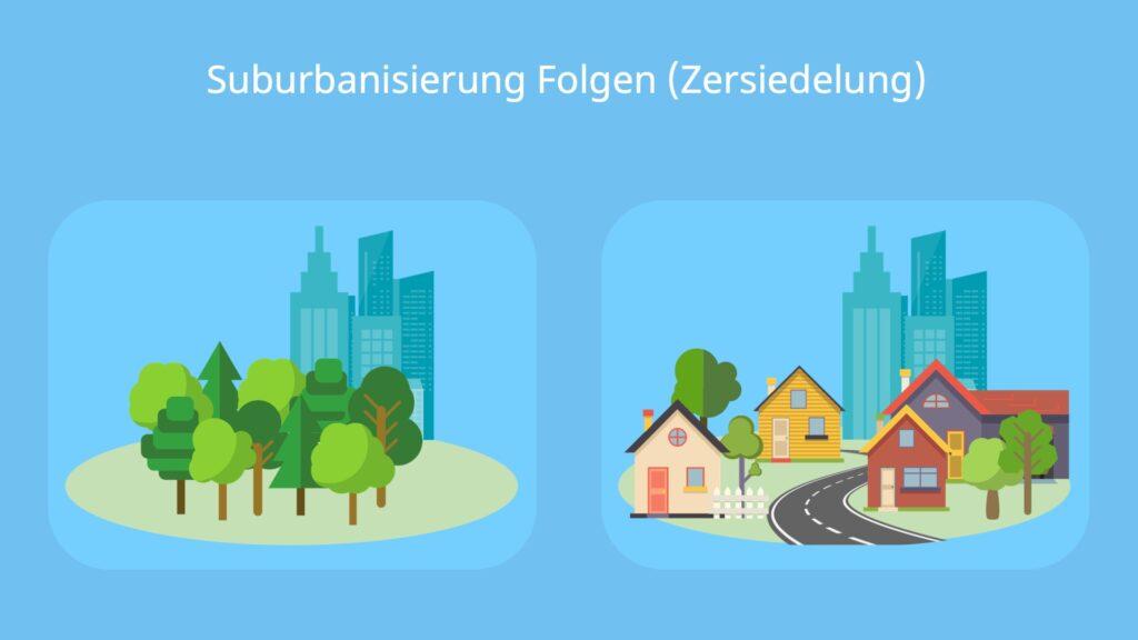 Folgen der Suburbanisierung, Suburbanisierung, Stadtflucht, was ist suburbanisierung, folgen der suburbanisierung